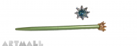 Ballpen 16cm decorative Crown, with swarovski on the top of pen Erinite color