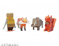 Forest Animals Paper Toys, size: 9 cm to 11 cm high x 7 cm to 22 cm long.