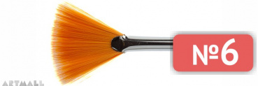 Fan brush, soft synthetic, long varnished handle №6