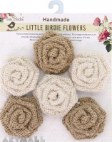 Burlap & Canvas Beaded Printed Flowers  8Pc Mix Media