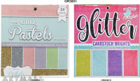 Glitter Cardstock 6x6 inch 24 sheet, 2 types assorted