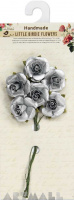 Metallic Open Rose 25mm Silver 6Pc