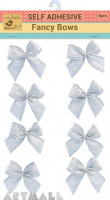 Self Adhesive Fancy Bow Silver Charm 8Pc