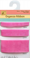 Organza Ribbon W 6/12/25mm 1mtr Each Pink