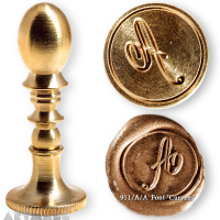 "Round seal 18 mm initial ""Curvem"" w/brass handle ""A"""