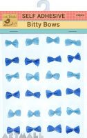 Self Adhesive Bitty Bow Blue 24Pc