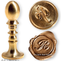 "Round seal 18 mm initial ""Curvem"" w/brass handle ""R"""