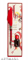 Writing set, Red quill with pointed metal nib 15 cm & Red ink 5cc