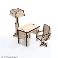 Mini wooden furniture - office room