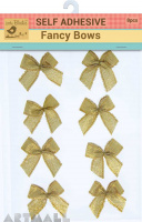 Self Adhesive Fancy Bow Gold 8Pc
