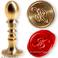 "Round seal 18 mm initial ""Curvem"" w/brass handle ""X"""