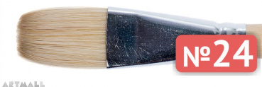Flat brush, bristel, long varnished handle №24