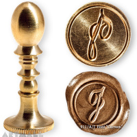 "Round seal 18 mm initial ""Curvem"" w/brass handle ""J"""