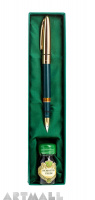 Set fountain pen + 10 cc ink bottle in gift box, green color