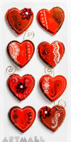 "3D Stickers ""Red Hearts"""