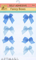 Self Adhesive Fancy Bow Blue 8Pc