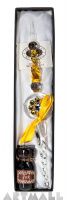 Glass pen yellow color decorated original Swarovski with ink 10cc