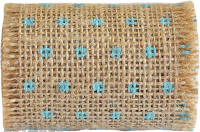 Dotted Burlap Ribbon Roll 6cm X 2mtr Blue 1pc