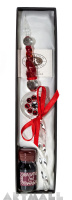 Glass pen red color decorated original Swarovski with ink 10cc