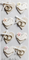 "3D Stickers ""Wedding White Hearts"""