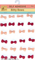 Self Adhesive Bitty Bow Roseberry 24Pc