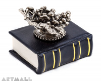Metal decorated penstand on book reproduction. GRAPE