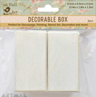 "White Washed Alterables Rectangle 3.3"" X 1.7"" Small 2Pc"