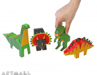 Dinosaurs Paper Toys, size: 10 cm to 18 cm high x 13 cm to 25 cm long.
