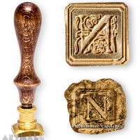 "Square seal - N - ""Capolettera"" with wooden handle"