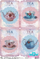 Shabby chic style teapots and cups