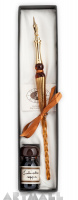 Gift Calligraphy Set, Gold glass pen with metal nib & 10cc ink