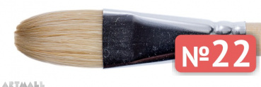 Oval brush, bristel, long varnished handle №22