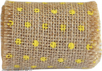 Dotted Burlap Ribbon Roll 6cm X 2mtr Yellow 1pc