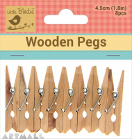 Wooden Pegs 45mm, 8 pcs