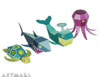 Sea Animals Paper Toys, size: 5 cm to 10 cm high x 10 cm to 22 cm long.