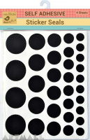 Sticker Seals Self Adhesive Black 4sheet