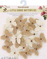 Burlap Mini Beaded Butterflies Natural & Cream 20Pc